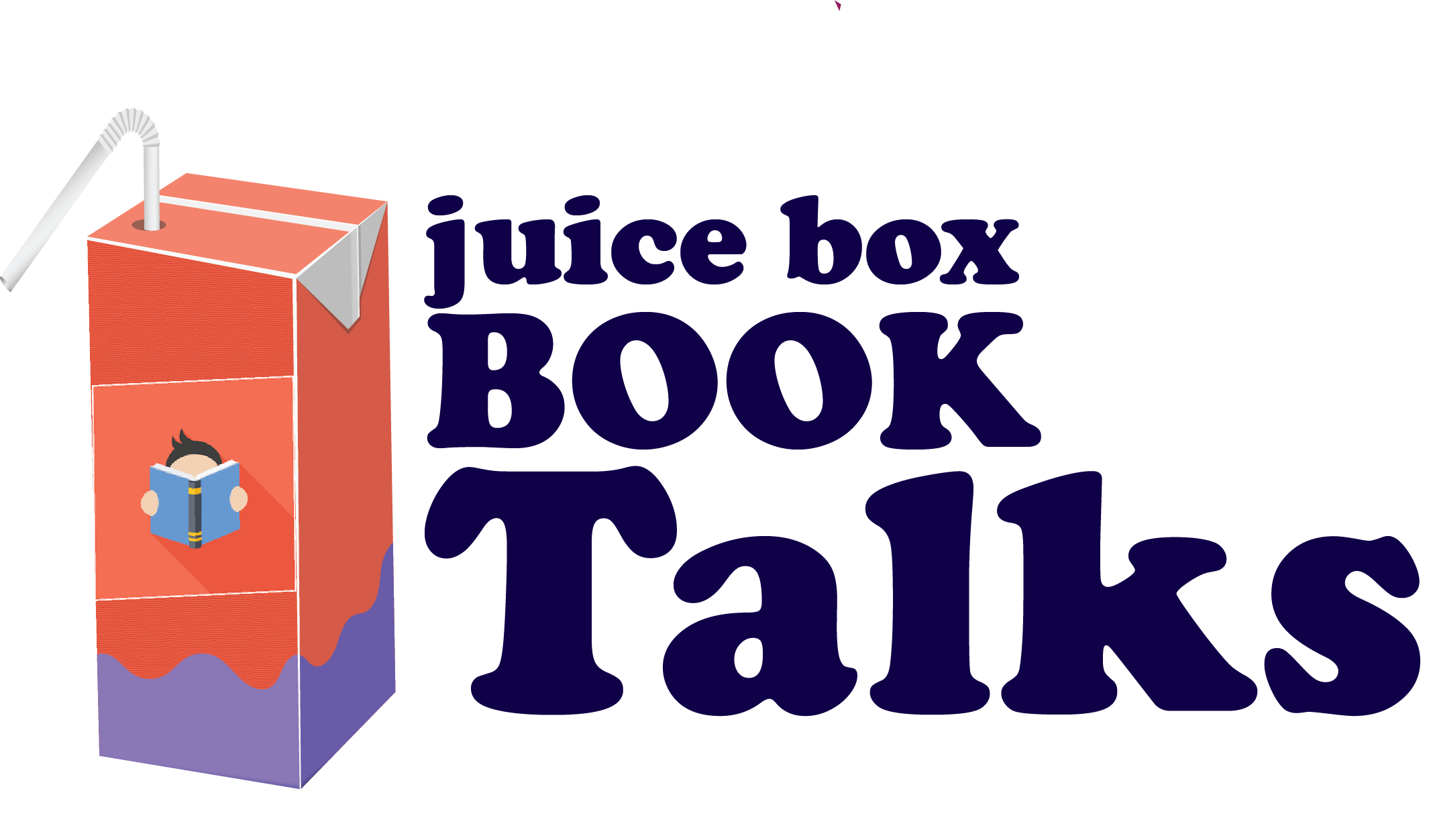 Cartoon image of juice box with a logo that looks like a child reading