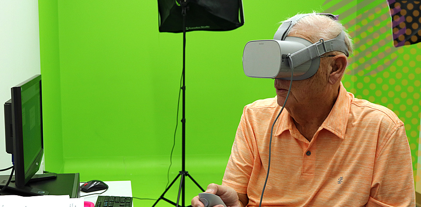 Man with virtual reality headset on